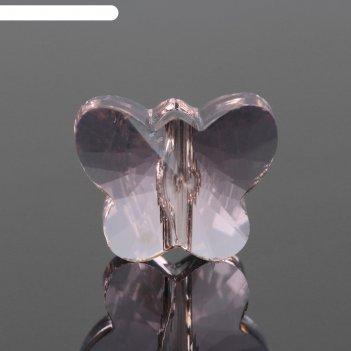 Бусина стеклянная, 10*8мм, бабочка, цвет персиковый