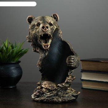 Подставка под бутылку медведь бронза 15х16х25см