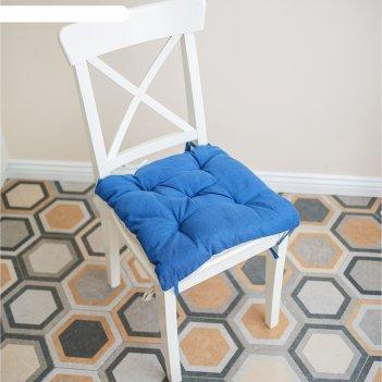 Подушка на стул, размер 45 x 45 см, цвет васильковый