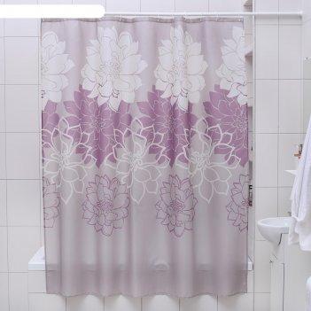 Штора для ванной 180х180 см большие цветы, полиэстер, цвет сиреневый