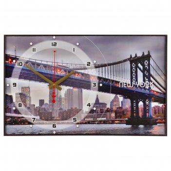 Часы настенные, серия: город  бруклинский мост, 37х60  см, микс
