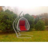 Подвесное кресло на стойке капри, белое/красная