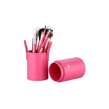Набор кистей для макияжа в розовой тубе tnl, 12 шт.