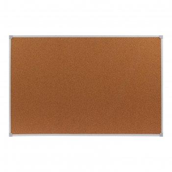Доска пробковая 60х90 см calligrata, в пвх рамке белого цв, серые уголки в