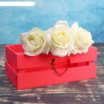Ящик-кашпо сердце, большой, красное, 24,5х13,5х9см