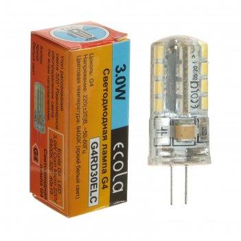 Лампа светодиодная ecola corn micro, g4, 3 вт, 6400 к, 320°, 220 в, 38х11