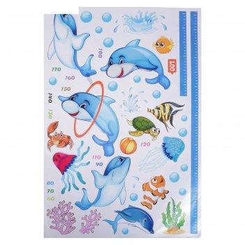 Наклейка пластик интерьерная ростомер жираф/дельфины микс 88х55 см