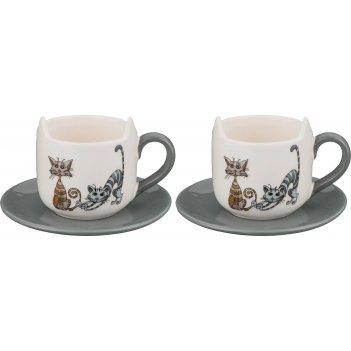 Чашка с блюдцем озорные коты 210 мл 11*8*8 см овки