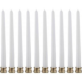 Набор свечей из 10 шт.высота=29 см.белый