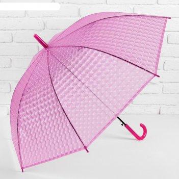Зонт-трость, полуавтомат, r=55см, цвет малиновый