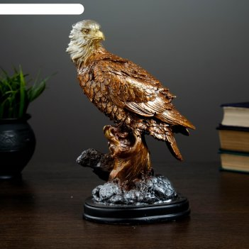 Фигура орел на суку с повернутой шеей бронза