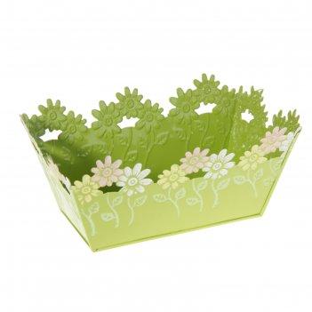 Кашпо оцинкованное цветочки 9*19*12,5 см, салатовое