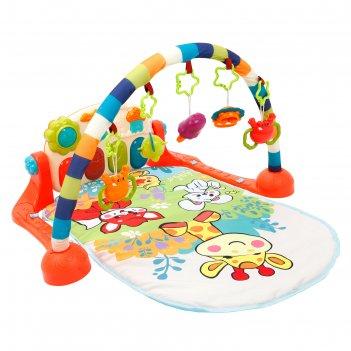 Музыкальный развивающий коврик жирафики «жирафик и друзья», с игровой пане