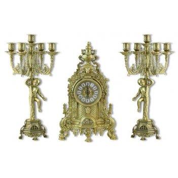 Каминный набор: часы каминные и 2 канделябра, золото (alberti livio)