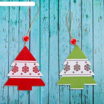 Подвеска новогодняя деревянная зимняя ель цвета микс