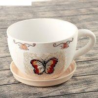 Горшок для цветов с поддоном 16х26 см бабочка