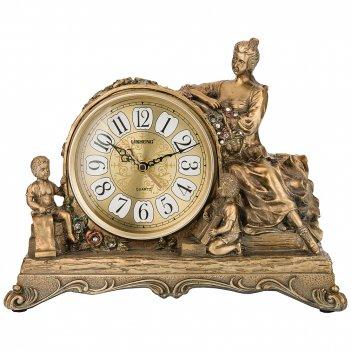Часы настольные кварцевые цвет: бронза  33,5*13*26,5 см (кор=12шт.) циферб