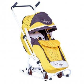 """0904-р14 санки-коляска скользяшки """"мозаика"""" желтый-коричневый-"""