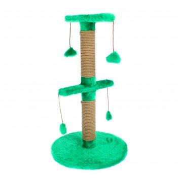 Столбик-когтеточка двойной на основании, с игрушками, 40 х 40 х 70 см, мик