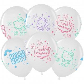 Шар латексный 12 hello kitty, с днем рождения!, пастель-кристал микс, 4ст,