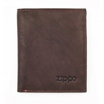 Портмоне zippo, коричневое, натуральная кожа, 10x1,5x12,3 см