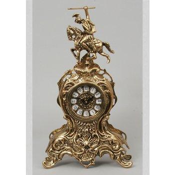5710  бронзовые часы всадник золото 37х21см