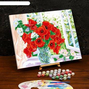 Картина по номерам на холсте с подрамником «маки на окне» 40x50 см
