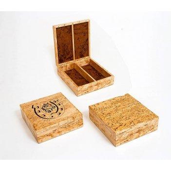 Шкатулка для денег двойная из карельской березы 18х17х5,5см