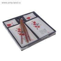 Набор для суши красная сакура на белом, 8 предметов