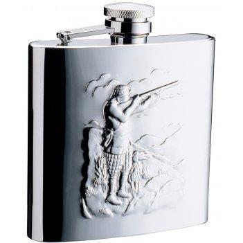 Фляга s.quire охотники 0,24 л, сталь, серебристый цвет с рисунком