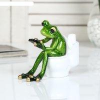 Сувенир полистоун лак лягушонок на унитазе с телефоном 12,5х8х11 см