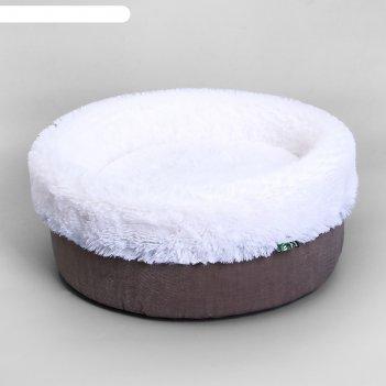 Лежанка круглая мокко, мебельная ткань/мех, 43 х 43 х 16 см
