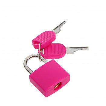 Замок навесной для чемодана, малый, цвет розовый