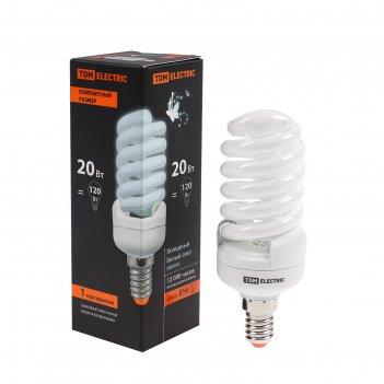 Лампа энергосберегающая tdm клл-fsт2 компакт, 20 вт, е14, 4000 к, 41 х 113
