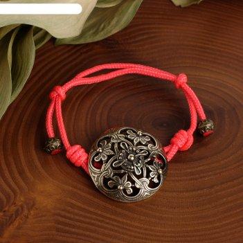 Браслет-шнурок на красной нити процветание (процветание и защита) (латунь)