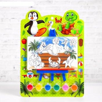 Раскраска на подставке «весёлые друзья», краска 6 цветов, кисть
