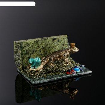 Сувенир ящерица, 8х12х5 см, змеевик, гипс