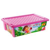 Ящик для игрушек на колесах даша путешественница 30 л, с крышкой, цвет роз