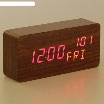 Часы электронные кержан, настольные, красные цифры, 15х7 см