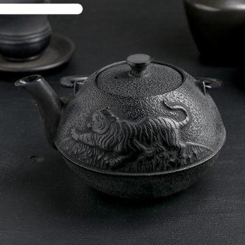 Чайник с ситом 700 мл золотой дракон, черный, эмалированное покрытие внутр