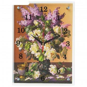Часы настенные, серия: цветы, букет сирени, 30х40  см, микс