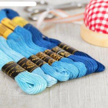 Набор ниток мулине «цветик-семицветик», 10±1 м, 7 шт, цвет синий