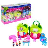 Дом для кукол яблочко складной, с мебелью и куколками, световые и звуковые