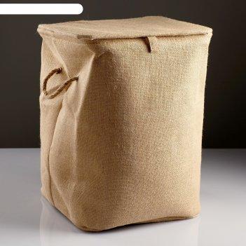 Корзина для белья, с крышкой и ручками, складная, 37x37x50 см, джут