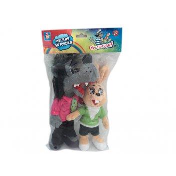 1toy ну, погоди! набор плюшевых игрушек волк 22 см и заяц 16 см, пакет с х