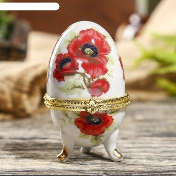 Шкатулка-яйцо маки на белом