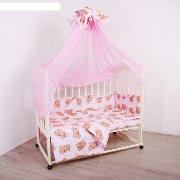 Комплект в кроватку спящие мишки (5 предметов), цвет розовый 515/1