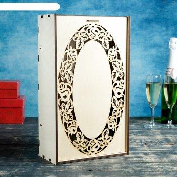 Коробка для вина двойнаярозы в овале 38*22*11 см