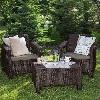 Комплект мебели для сада keter corfu weekend коричневый, садовая мебель