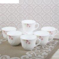 Чайный набор тюльпан, 12 предметов: 6 кружек 190 мл, 6 блюдец d=13,7см